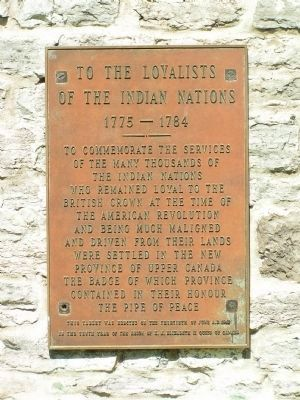 To the Loyalists of the Indian Nations 1775-1784 image. Click for full size.
