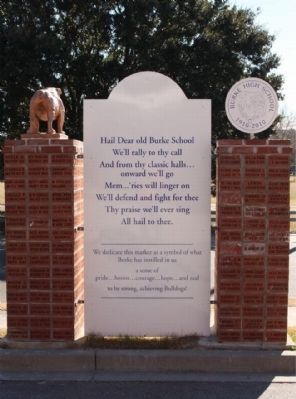 Burke High School Marker, back side image. Click for full size.