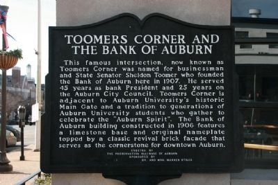 Toomers Corner And The Bank Of Auburn Marker image. Click for full size.