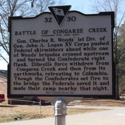 Battle of Congaree Creek Marker, reverse side image. Click for full size.