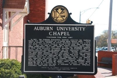 Auburn University Chapel Marker (Side B) Photo, Click for full size