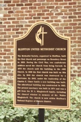 Bluffton United Methodist Church Marker image. Click for full size.