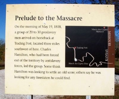 Marais des Cygnes Massacre SHS Trail Marker 5 image. Click for full size.