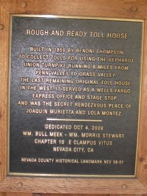 Rough and Ready Toll House Marker image. Click for full size.