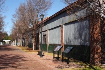 Building a Nation Marker amid the former warehouses in the Camden Depot courtyard image. Click for full size.