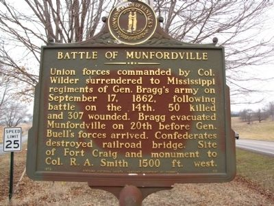Battle of Munfordville Marker image. Click for full size.