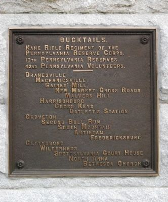 Bucktails Monument Service Plaque image. Click for full size.