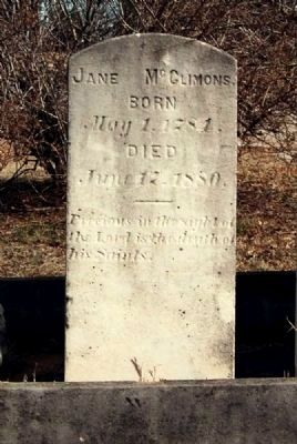 Jane McClimons Tombstone image. Click for full size.