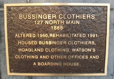 Bussinger Clothiers Marker image. Click for full size.