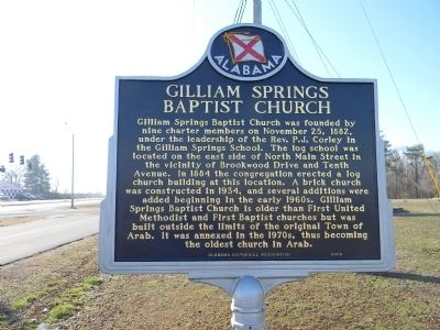 Gilliam Springs Baptist Church Marker image. Click for full size.