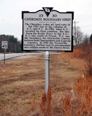 Cherokee Boundary (1767) Marker -<br>Reverse image. Click for full size.
