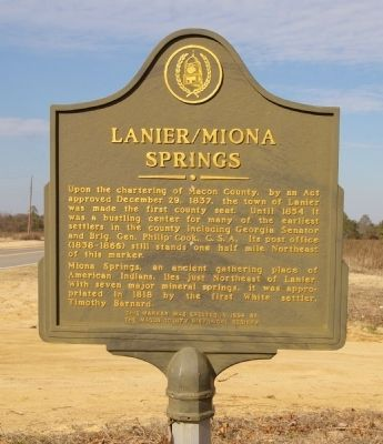 Lanier/Miona Springs Marker image. Click for full size.