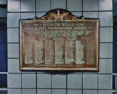 Penn Station Baggage Handler WW II Memorial Plaque image. Click for full size.
