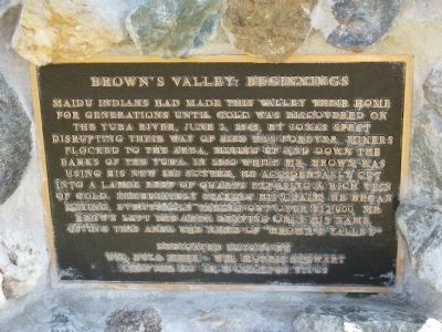 Browns Valley: Beginnings Marker image. Click for full size.