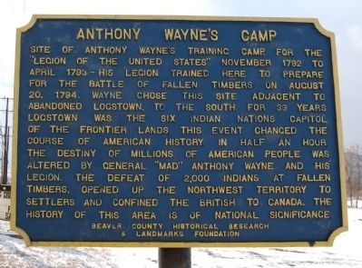 Anthony Wayne's Camp Marker image. Click for full size.