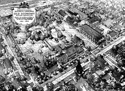 1938 aerial drawing of Old Economy Village image. Click for full size.