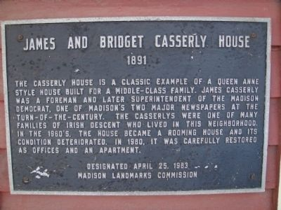 James and Bridget Casserly House Marker image. Click for full size.