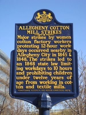 Allegheny Cotton Mill Strikes Marker Photo, Click for full size