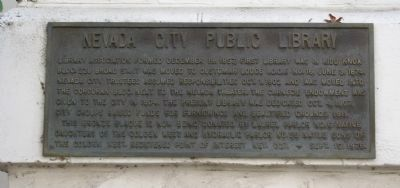 Nevada City Public Library Marker image. Click for full size.