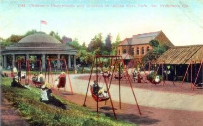 """Children's Playground and Quarters in Golden Gate Park, San Francisco, Cal,"" - postcard view image. Click for full size."
