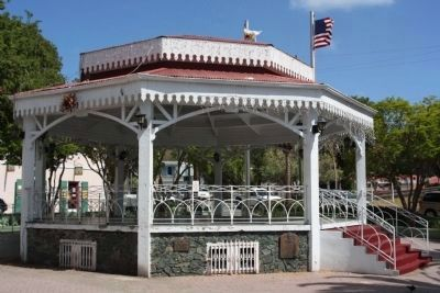St. Thomas Community Bandmaster Marker (r) and Bandstand, as mentioned in Emancipation Park image. Click for full size.