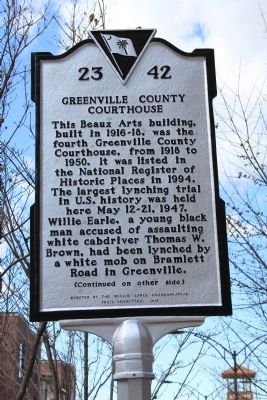 Greenville County Courthouse - The Willie Earle Lynching Trial Marker (front) image. Click for full size.