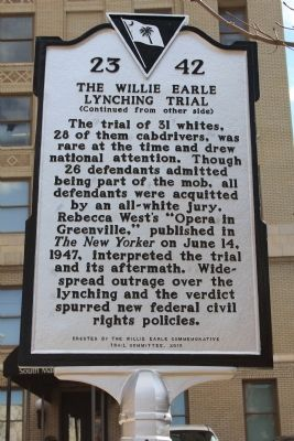 Greenville County Courthouse - The Willie Earle Lynching Trial Marker (reverse) image. Click for full size.