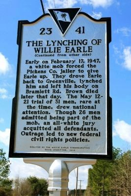 The Lynching Of Willie Earle Marker (reverse) Photo, Click for full size