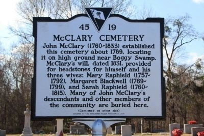 McClary Cemetery Marker (front) image. Click for full size.