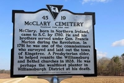 McClary Cemetery Marker (reverse) image. Click for full size.