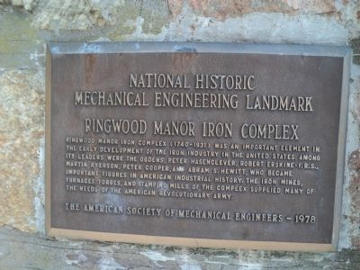 Ringwood Manor Iron Complex Marker image. Click for full size.
