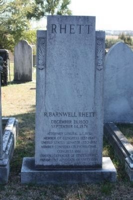 Magnolia Cemetery , R. Barnwell Rhett, as mentioned image. Click for full size.