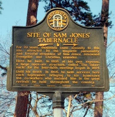 Site of Sam Jones� Tabernacle Marker Photo, Click for full size