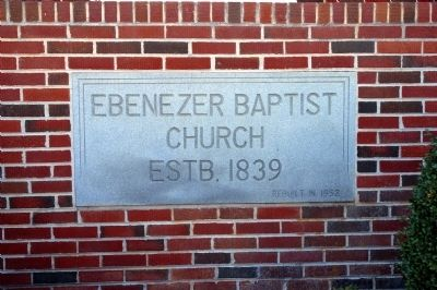Plaque at Ebenezer Baptist Church image. Click for full size.