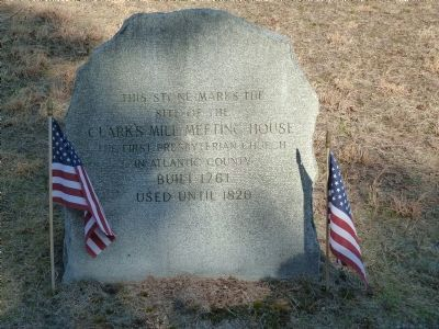 Stone marking the site of Clark's Mill Meeting House image. Click for full size.