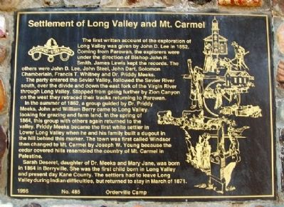 Settlement of Long Valley and Mt. Carmel Marker image. Click for full size.