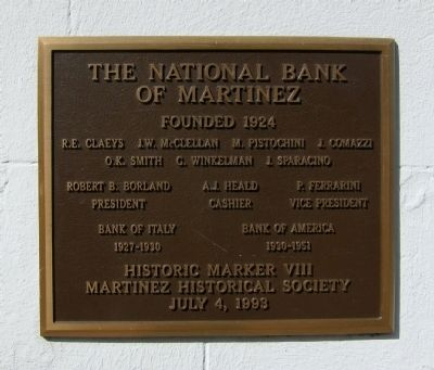 The National Bank of Martinez Marker image. Click for full size.