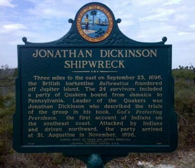 Jonathan Dickinson Shipwreck Marker image. Click for full size.