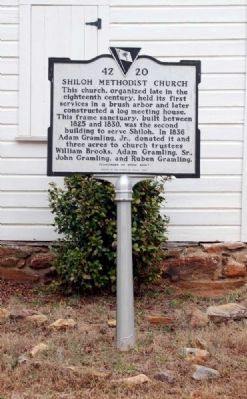 Shiloh Methodist Church Marker -<br>Front Photo, Click for full size