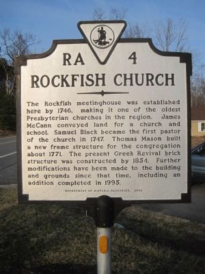 Rockfish Church Marker image. Click for full size.