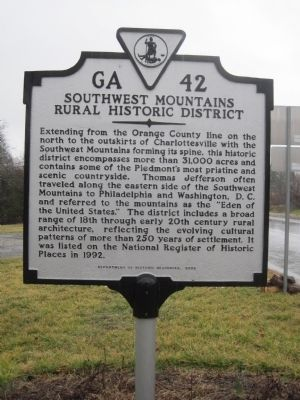 Southwest Mountains Rural Historic District Marker image. Click for full size.