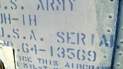 UH-1H Huey Serial Number image. Click for full size.