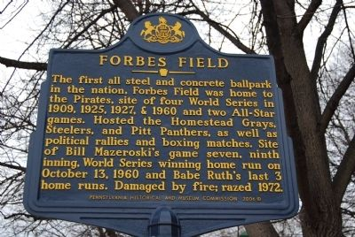 Forbes Field Marker Photo, Click for full size