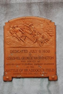 Colonel George Washington Statue Plaque Photo, Click for full size