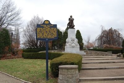 Frank Vittor Marker and Christopher Columbus Statue Photo, Click for full size