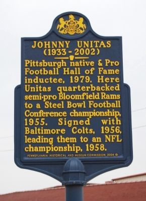 Johnny Unitas Marker image. Click for full size.