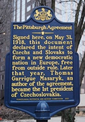The Pittsburgh Agreement Marker image. Click for full size.