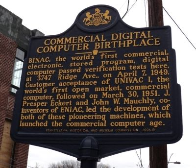 Commercial Digital Computer Birthplace Marker image. Click for full size.