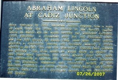 Abraham Lincoln at Cadiz Junction Marker Photo, Click for full size