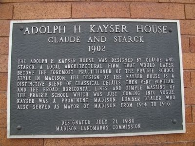 Adolf H. Kayser House Marker image. Click for full size.